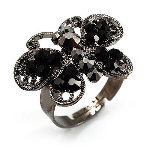 Encantador negro mariposa anillo de brillantes