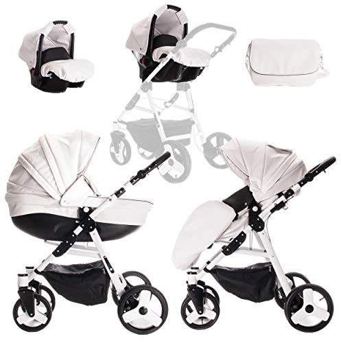 Friedrich Hugo Easy Comfort | 3 in 1 passeggino con carrozzina modulari combinabili set completo | Colore: White Black & Leatherette