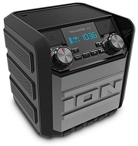 ION Audio Tailgater Go - Sistema di Altoparlanti Bluetooth Portatile e Impermeabile Agli Spruzzi d'Acqua, con Radio AM/FM Integrata, Batteria Ricaricabile e Alimentatore USB