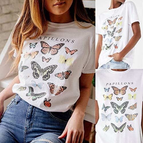 Susen Camiseta Mujer Manga Corta Verano 2019 Top De Manga Corta Estampado Mariposa Blusas De Mujer De Moda 2019 Elegantes