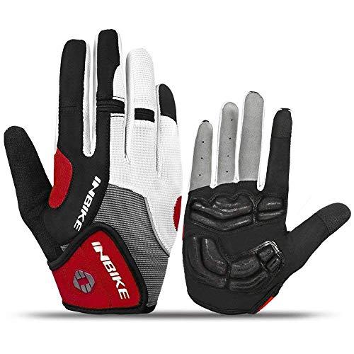 Inbike Gel Guanti MTB da Ciclismo Pieno Dito Bicicletta Bici Gloves da Uomo(Rosso-Long,L)