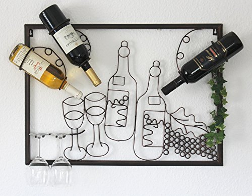 DanDiBo Scaffale vini a muro 091975 Supporto bottiglie in metallo 70cm Scaffale a parete porta...