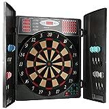 UItrasport elektronisches Dartboard mit Türen, Classic Dart für 16 Spieler, Dartspiel mit LED-Anzeige, 38 Spielen und vielen Varianten/Dartscheibe inklusive 12 Softpfeile und verschließbaren Türen