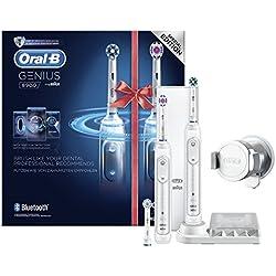 Oral-B Genius 8900 Elektrische Zahnbürste, mit Reise-Etui und drei Aufsteckbürsten, Bonus Pack mit 2 Handstücken, weiß