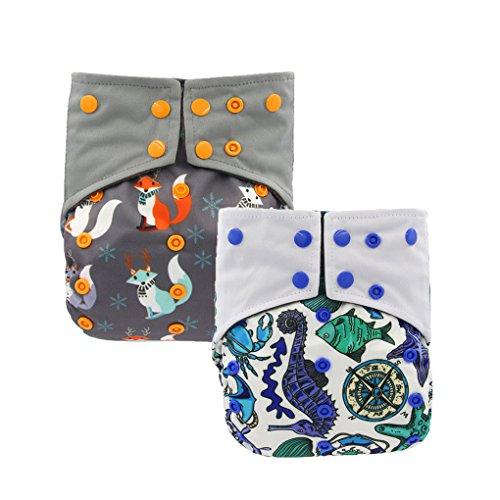 OHBABYKA AIO - Pannolini di stoffa per neonati, riutilizzabili e impermeabili, taglia unica