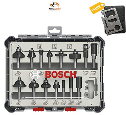 Tools CentreTM Bosch New Arrival 15pcs Router Bit Set 8mm for Wood With Free 11 in 1 Multitool