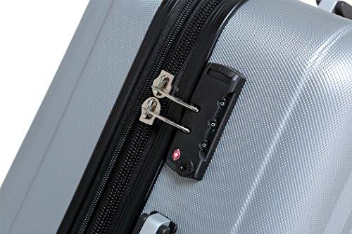 2080 TSA-Schloß Zwillingsrollen 3 tlg. Reisekofferset Koffer Kofferset Trolley Trolleys Hartschale in 12 Farben (Silber) - 3