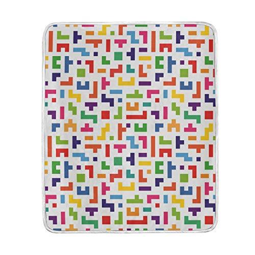 GraciasU Tetris Coperta Colorata Astratta per Letto, Divano, Interno ed Esterno, 127 x 152 cm