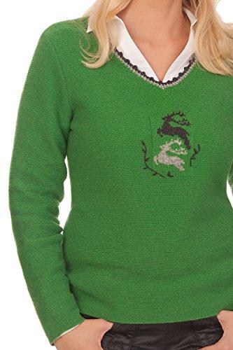 Damen Trachten Pullover - FALUN - grün, grau, rot, Größe XL -