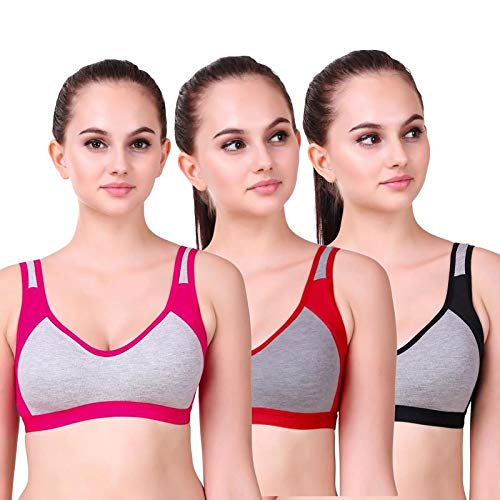 Alive Womens Full Coverage Wirefree Cotton Mix Workout Sports Bra Multicolor Pack of 3 (Size 44) Pink