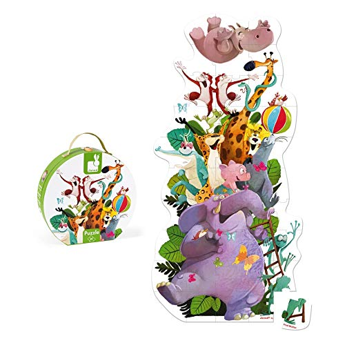 Janod Valigetta Rotonda-Floor Puzzle Gigante Piramide di Animali, Multicolore, J02727