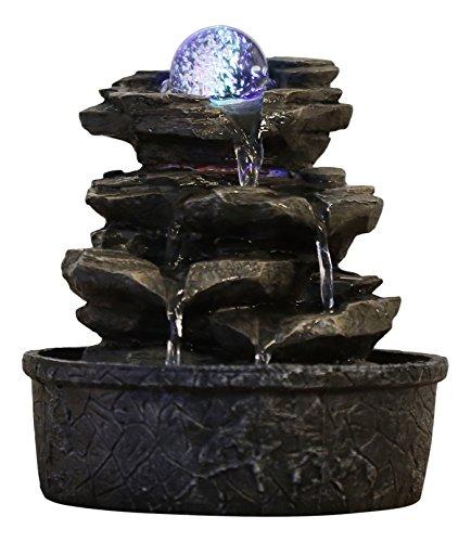 Zen Light - Fontana a Forma di Roccia, in poliresina, Colore: Marrone Scuro, 20x 20x 23cm
