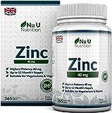 ZINCO 40mg |365 compresse (Fornitura per 12 Mesi) | 1 Compressa Facilmente Deglutibile Al Giorno di Zinco Gluconato | Integratori alimentari Nu U Nutrition