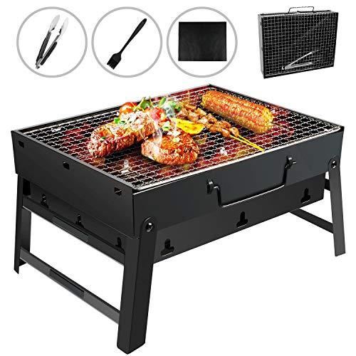 Gifort Portable Grill, BBQ Holzkohlegrill Tragbar Mini Grill mit Rostfreier Stahl BBQ Drahtgeflecht...