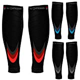 NV Compression Race and Recover fasce di compressione per polpacci - Nero - Calf Guards/Sleeve Socks (PAIR) 20-30mmHg - For Sports Recovery, Work, Flight - Running, Cycling, Soccer, Rugby, Fitness, Gym, Golf, Tennis, Triathlon (Black/Grey, S-M (12-16' / 30-41cm))