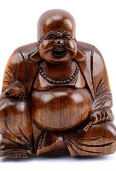 Artisanal Figura Decorativa de Buda Chino, Madera Tallada, H11cm
