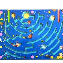 HappyToy labirinto di legno magnetico puzzle interattivo labirinto magnete perle labirinto a bordo d