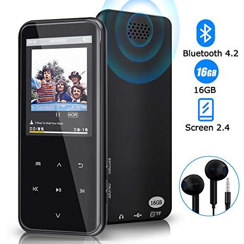 Lettore MP3, lettore MP3 Bluetooth da 16 GB con riproduzione di 55 ore, lettore musicale di musica...