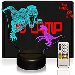 LED Lámpara de Mesa 3D Jurassic Dinosaurios con Control Remoto Sensor Tacto, USlinsky Lámpara de Noche de Atmósfera Modo RGB, Decoracion Cumpleaños, Navidad Regalos de Mujer Bebes Hombre Niños Amigas