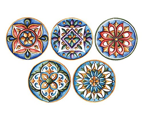 Block Décorr Real Art Arabic Patterns Bone China Hanging 7 Inch Plate Set -5 Pieces