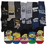 Calzini da uomo motivo I Simpsons, comodità e fantasia, in cotone; assortimento modelli nella foto a seconda della disponibilità. Pack de 9 Taglia unica
