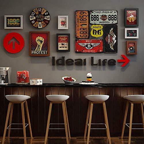 Set di cornici per decorazioni murali, cornici per foto di decorazioni industriali vintage per bar...