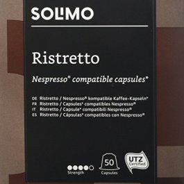 Marchio Amazon – Solimo Capsule Ristretto, compatibili Nespresso* – caffè certificato UTZ, 100 capsule (2 x 50)