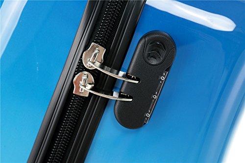 Polycarbonat Hartschale Koffer 2060 Trolley Reisekoffer Reisekofferset Beutycase 3er oder 4er Set in 7 Motiven (Flug(3er Set)) - 4