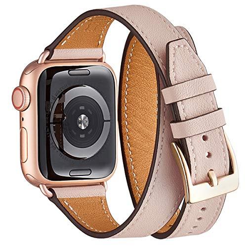 WFEAGL Compatibile con Cinturino Apple Watch 38 40mm, Multicolore Ultrasottile Pelle Cinturini Compatibile con iWatch Serie 5 Serie 4 Serie 3/2/1(38mm 40mm,Rosa Chiaro Doppio+RoséGold Adapter)