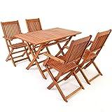Deuba Sitzgruppe Sydney 4+1 FSC-zertifiziertes Akazienholz 5-TLG Tisch klappbar Sitzgarnitur Holz Garten Möbel Set