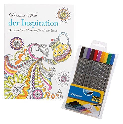 Idena 68152-Libro da colorare per Adulti, Include 10fine Liner Inspiration (Ispirazione)