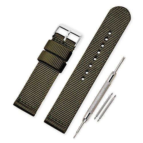 Vinband Cinturini Orologi Alta qualità Tela di canapa Orologi Bracciale Militari dell'esercito - 18mm, 20mm, 22mm, 24mm Cinturino Orologio Addensare Dell'acciaio Inossidabile (20mm, Army Green)