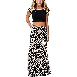 b3cb3b29b8 DOKOTOO Women Casual Colorful Printed Maxi Skirt for Party Medium Black  Tendril