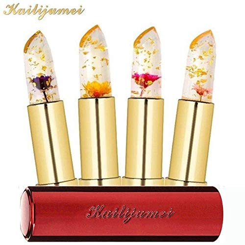 KAILIJUMEI Moisturizer lipsticks Lips Care Surplus Bright Flower Jelly Lipstick 4g x 4 PCS SET