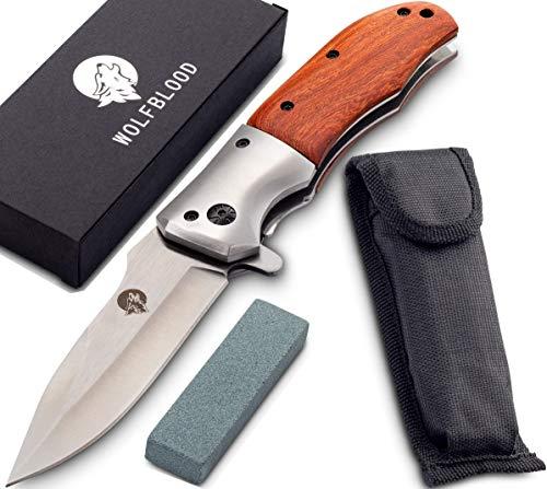 Wolfblood Klappmesser - extra scharfes Taschenmesser mit Schleifstein und Gürteltasche - Outdoor Messer aus speziell gehärteter Edelstahlklinge und Edelholzgriff - Zweihandmesser darf geführt Werden