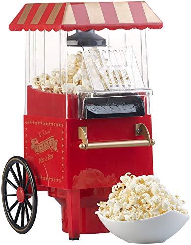 Rosenstein & Söhne Popcorn Maker: Retro-Heißluft-Popcorn-Maschine, Miniatur-Rollwagen-Optik, 1.200 Watt (Popcorn Machines)