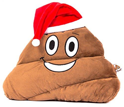 Haufi® Santa Nikolaus Emoji Kissen mit Weihnachtsmütze Xmas Smiley Kackhaufen, Größe 35x13x31 cm
