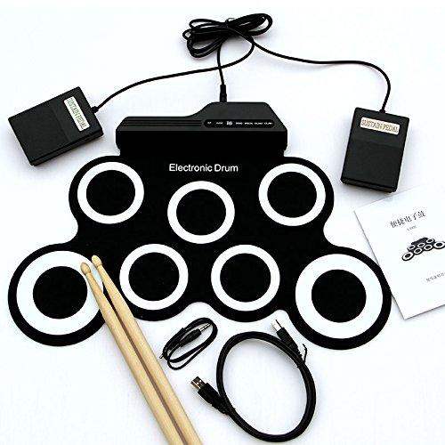 Forfar Kit de tambor MIDI Electronic Roll Up con altavoces, Pedales, Baquetas, blanco para niños de los niños
