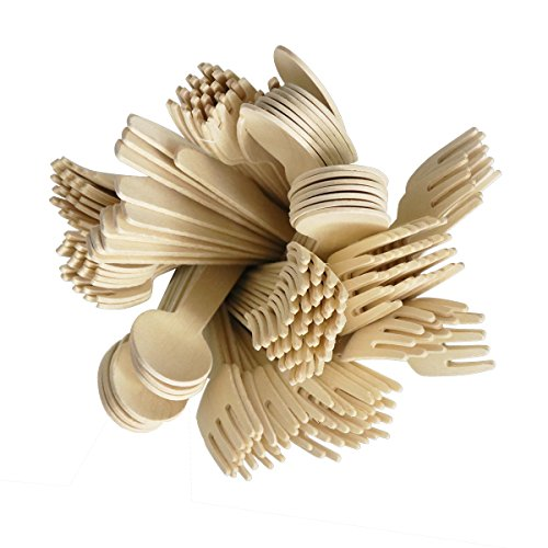 VIMOV 200 Pieza Cubiertos de Madera Desechables, Utensilios Biodegradables para Fiestas, Camping, Picnic, Barbacoa, Evento (100 Tenedores de Madera, 50 Cuchillos de Madera, 50 cucharas de Madera) 1