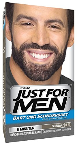 Just for Men 3 x Barba E Baffi Colore Permanente con Pennello Senza AMMONIACA Nero M 55 2X 14 ML