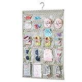 mDesign - Organizador de Tela para Colgar Colocar articulos de bebés - El Organizador de armarios 48 Compartimentos - Color: Gris Pardo/Crema