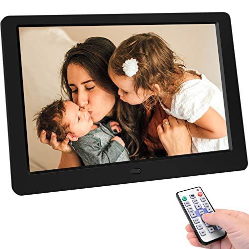 TENSWALL 10 Zoll Digitaler Bilderrahmen 1280x800 hochauflösendes Full-IPS-Display Foto/Musik/Video-Player Kalender Wecker automatischer EIN/aus Timer, unterstützt USB-und SD-Karte, Fernbedienung