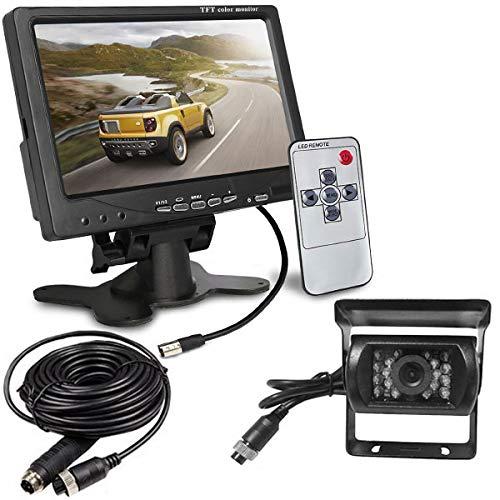 Telecamera di retromarcia impermeabile a visione notturna a infrarossi a 4 pin 18 LED con cavo da 15 m + Schermo LCD TFT HD da 7 pollici per camper, camion, rimorchi, autobus