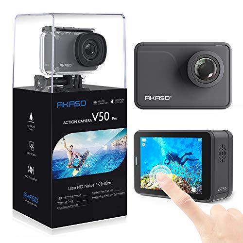 AKASO Action Kamera Ultra 4K/30fps 20MP V50 PRO Action Cam mit Touchscreen, 30m Unterwasserkamera Fernbedienung,EIS,LCD,Zeitraffer,Slow Motion und 2 1100mAh Akku und Zubehöre