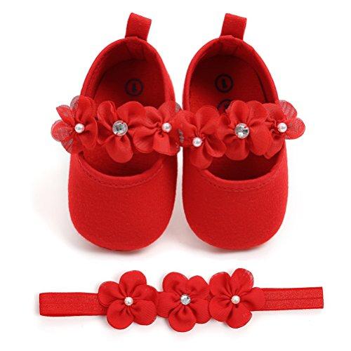 2 Pezzi Neonata Scarpe + Fascia, Bambino Fiore Scarpe Anti Scivolo Morbido Occasioni Speciali Battesimo per la Festa Nuziale Scarpe (0-6 Mesi, Rosso)