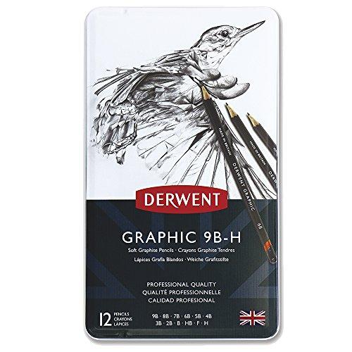 Derwent Graphic Bleistifte weich 9B-H in Metallbox