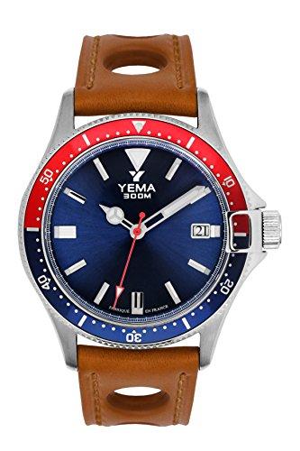Orologio uomo-Yema-Pro Diver-Bracciale Pelle Miele forato-Automatico-42mm-30Bar-ymhf1554-gs34