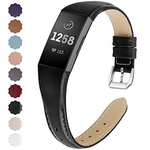 KIMILAR Compatible for Fitbit Charge 3 Cinturino Pelle, Braccialetto di Ricambio Premium Pelle Cinturini per Fitbit Charge 3 & Special Edition Fitness Tracker, Black, S