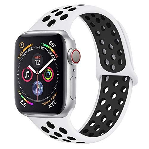 Lerxiuer - Cinturino di Ricambio per Apple Watch 38 mm, 40 mm, 42 mm, 44 mm, Doppio Colore, in Morbido Silicone Traspirante, Bianco, Nero, XL
