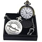 Personalised Laser Engraved Polished Pocket Watch. Custom Fob Watch - Gift for Best Man, Usher, Groom, Wedding Favours, Birthdy, Valentines, Graduation, Fathers Day Gift - Free Gift Box